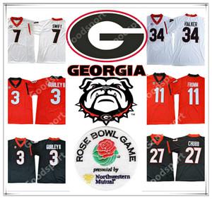 Georgia Bulldogs NCAA parte superior 3 GURLEY II 7 SWIFT 11 deportes Jake Fromm 10 Jacob Eason 27 Chubb 34 Herschel Walker Football jerseys