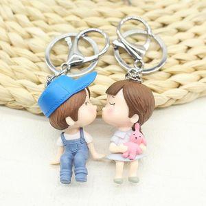 1 paire mignonne dessin animé poupée amoureux couples couples porte-clés porte-clés de voiture chian anneau titulaire femmes sac pendentif mini cadeaux à la mode