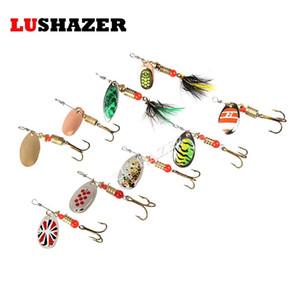 LUSHAZER Pesca spinner cebo 2.5-4.5g cuchara señuelos de metal cebos triple gancho isca artificial pescado wobbler alimentador carpa spinnerbait
