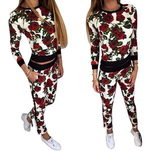 Madam Casual manica lunga Set donna Suit Slim Tute 2 pezzi Set O-Collo stampato T-Shirt + Pants Suit Donna Tuta sportiva Plus Size