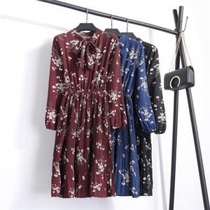 NIJIUDING 2018 Весна Лето Женская мода Повседневная факел рукава платье Шифон печатных женщин Цветочные платья Dropshipping