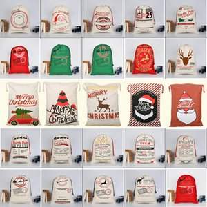 Sac de Noël Halloween cadeau Nouveau Grand Sac en toile de stockage de Santa Reindeers Sac à cordonnet Bonbons de fête de Noël de mariage 30 Styles HH7-1291