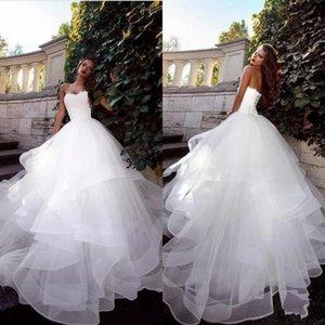 2019 Sin tirantes vestido de novia Vestidos de novia blancos Fruncido Tulle Sweep Train Corset Volver Simple elegante por encargo