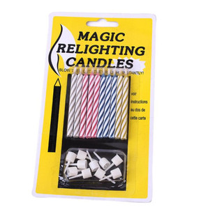 10 Pz / set Magic Trick Relighting Candele Torta di Compleanno Festa Candela che Soffia Immortal Magic giocattoli YH1516