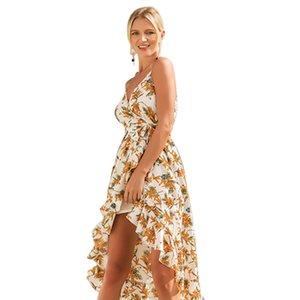 2018 vestito da donna primavera estate hot nuovo stile con scollo av cinghia stampa vacanza dress mujer vestidos gonne faldas vestito le donne