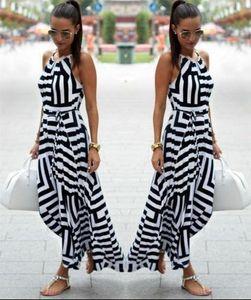 2018 여성 섹시한 여름 보헤미안 드레스 발목 길이 스트라이프 스커트 패션 맥시 롱 이브닝 파티 드레스 인기있는 비치 드레스 sundress에 새로운