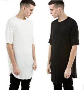 Оптовая новый негабаритных мужчины уличная одежда kanye west одежда Джастин Бибер хип-хоп одежда Мужская футболка фитнес удлиненные изогнутые подол тройник