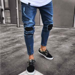Mens High Street Fashion pantaloni della matita dei jeans maschio Ripped Fori disegno della chiusura lampo delle blue jeans Distressed Biker denim lavato Pantaloni Mens Jeans