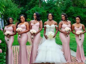 2020 Barata South African baratos Damas Vestidos Para País Casamentos 2018 Bainha cintas de espaguete Andar de casamento Comprimento Visitante Vestido BA9949
