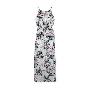 Vestido de las mujeres de impresión floral gasa sin mangas de cintura alta Maxi Long Beach Verano Moda para mujer con Sash Flower batas
