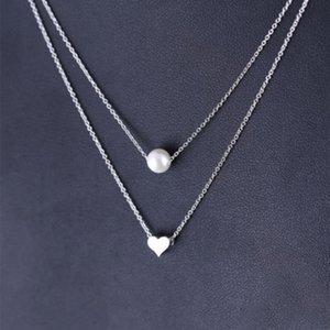 Colore oro argento Cuore d'amore Perle d'imitazione Collane Pendenti Catena doppia Collana girocollo Collana donna Gioielli dichiarazione