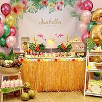Tabla Hawaiana Hula Hierba Falda Faux multicolors Flores Luau Hibisco Navidad Tabletop Decoración Fiesta en la playa suministros Celebración