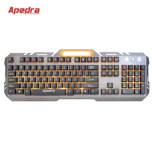 APEDRA AK-X60 Gaming Keyboard 104-Key with Splash-Proof Metal Backlit Suspended Button Wired USB Computer Keyboard 26 anti-ghosting Key