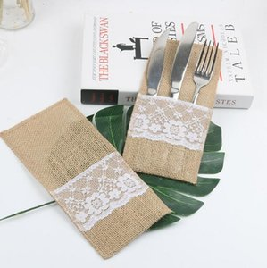 Burlap Cutlery Holder Vintage Shabby Chic Jute Lace Tableware Pouch Packaging Fork & Knife Pocket Home Textiles