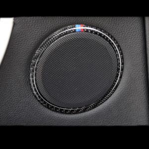 Fibra De carbono Do Carro Falante de Áudio Do Carro Porta Altifalante Guarnição Tampa Círculo Adesivo para BMW 3 4 Série 3GT F30 F31 F32 F34 Acessórios Styling