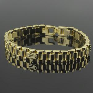 Pulseiras de pulseiras de coroa de relógio de largura estreita 2018 para homens Jóias de pulseira de coroa de luxo de aço inoxidável 316L Rose PS6214A