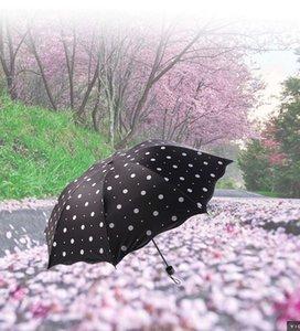Yuvarlak Nokta Siyah Beyaz Renk Şemsiye 3 3 Katlanır Açık Seyahat Yağmur Geçirmez Şemsiye Kadınlar Yağmur Dişli Güneşlik Şemsiye Uv
