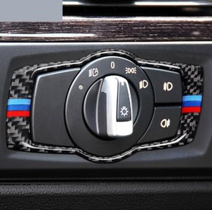 Для bmw E90 E92 Carbon Fibre Car Headlamp Switch Trim Наклейка на наклейку с наклейкой Frame Decor Stickers 3 Series 2011-2015 Интерьер автомобиля