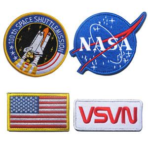 NASA 100th Uzay ShuttleMission ABD Bayrağı Taktik Yama Moral Yamalar Kanca Döngü 3D Nakış Yamaları Rozeti Ordu Rozetleri