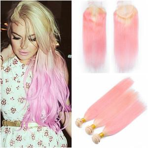 실키 스트레이트 브라질 613 / 핑크 Ombre 인간의 머리는 Closure Blonde와 Pink Ombre 버진 헤어 3Bundles with Retail Closure 4x4