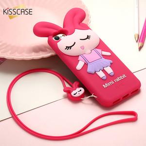 Kisscase Bunny Girl Phone Case para Iphone 6 6s Plus 3d Orejas de conejo de dibujos animados Soft Tpu fundas de silicona para Iphone 7 8 Plus cubierta