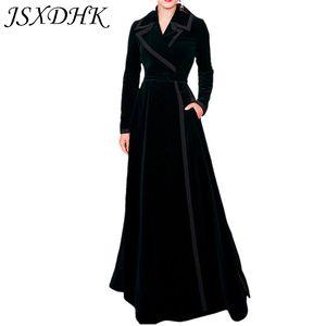 JSXDHK Runway Herbst Winter Frauen Trenchcoat 2018 Designer Schwarz Samt XL Lange Umlegekragen Slim Long Sleeve Outwerwear