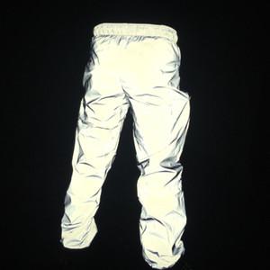 Riflettenti Pantaloni Hip Hop Uomini Pantaloni Pantaloni felpa Uomini Streetwear luce di notte lucido Blink pantaloni lunghi per le coppie di alta qualità del commercio all'ingrosso