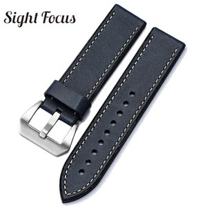 Italian Oil Wax Leather Silicone Rubber Sole Watch Straps for  Band Men Brushed Tang Buckle Watch Belt 20 22 24 26mm Male