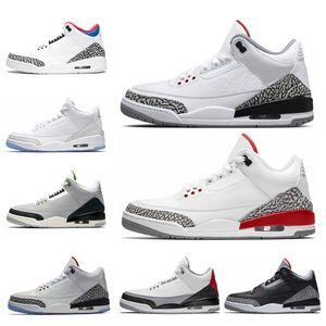 air  jordan retro 3 2018 Branco puro homens tênis de basquete Vôo Internacional EUA QS Katrina Tinker JTH Livre Throw Line branco Preto Cement sports sneaker 41-47