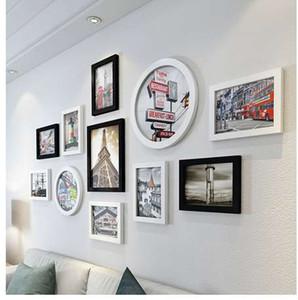 11pcs Rectangle Rond Cadres photo pour les images, Hanging DIY Accrochage album, Home Decer White Base Picture Frame Set