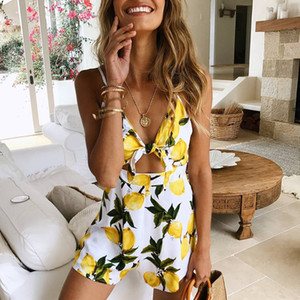 2018052302 Backless Front Tie Women Print Bandage Playsuit Sexy Beach Short Jumpsuits Holiday overalls rompers body feminino