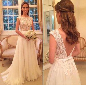 Heißer Verkauf Elegant U-ausschnitt Tulle A Line Brautkleider Kapelle Zug Appliques Braut Brautkleider Vestido De Casamento