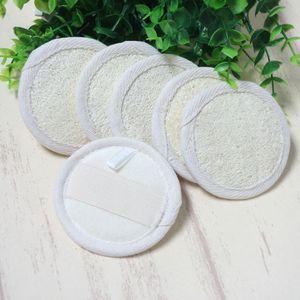 8 * 8 cm Forma Redonda Natural Loofah Pad Loofah Esponja de Baño Ducha Cara Cuerpo Exfoliante de Baño Depurador