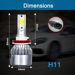 2pcs H8 / H9 / H11 C6 10800LM 6000K 120W COB LED per auto Kit faro lampadine CLT_62H