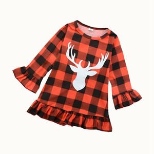 INS Natal Crianças Meninas vestido de Festa Xadrez Vermelho Veados Ruffle Princesa vestidos de Manga Longa Criança Roupas de Criança Roupas Xmas Verificados 1-6 T