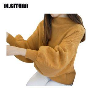 Nuevo OLGITUM Estilo Coreano Primavera Otoño Medio Cuello Suéter Pullover Manga de Linterna Inferior Suelta Suéter Mujer SW323