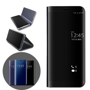 Caja del teléfono del soporte del tirón para Huawei Mate 8 9 10 lite Pro P20 P10 P9 P8 P8 Lite 2017 P9 P10 Plus funda Smart Clear Mirror View Case bolsas