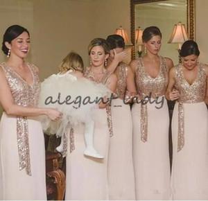 2018 로즈 골드 블러쉬 스쿼시 신부 들러리 드레스와 새시 긴 칼집 저렴한 결혼식 드레스 게스트 드레스에 대한 주니어 저렴한 파티 드레스
