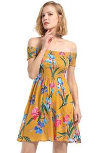 Womens trägerlos sexy floral bedruckte elastische Kleider weibliche Sommer weg von der Schulter beiläufige Abendgesellschaft Kleider Freies Verschiffen