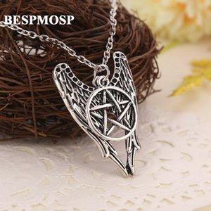 Venda Por Atacado 24 pçs / lote atacado antigo pentagrama pentagrama asas de anjo supernatural pingente de colar vintage mulheres homens jóias charme