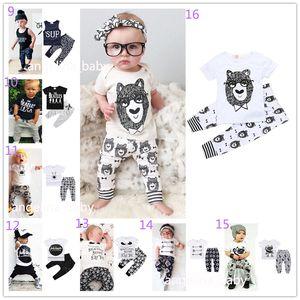Neonate Ragazze Imposta 40 Stili INS Fox Stripe Lettera Tute Bambini Infant Casual T-shirt manica corta + Pantaloni 2pz Set neonato Pigiama