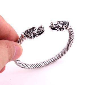 Wicca Amulett Solomon Pagan Schmuck Silber oder Gold Viking Pagan Gothic Wolf Kopf Zinn Armband nordischen Schmuck Totem Viking Armband KKA1900