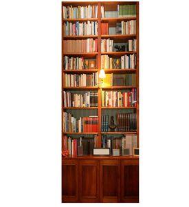 PVC 3D Wall Sticker Bookshelf Self Adhesive Door Fridge Stickers Wallpaper Home Living Room Art Wall Decals Home Decoration