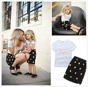 INS heiße Mutter und Tochter Röcke Baumwolle goldenen Brief gedruckt T-Shirt + schwarz Runde Dot Rock passt Familie passenden Outfits