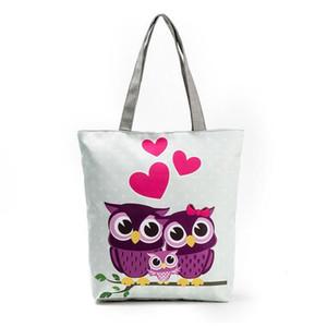 올빼미 인쇄 캔버스 가방 여성 꽃 핸드백 대용량 여성용 어깨 가방 단일 쇼핑 가방 캐쥬얼 패턴 비치 가방