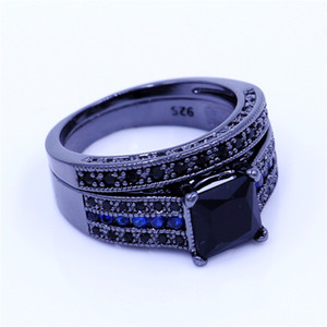 Vintage Anniversary Bridal sets rings for women eA Zircon Cz Black Gold Filled Female Wedding Ring Fashion accessories