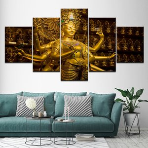 Wall Art Canvas Pictures Modular Poster Artworks 5 Piezas Buddha Statue Buddhism Paintings Frame Decor For Living Room HD Prints