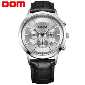 Dom men&#39s watch large dial multifunctional sports waterproof genuine leather strap men&#39s watches MS-301L-7M