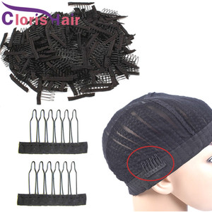 Edelstahl Spitze Perücke Clips 6 Zähne Polyester Durable Tuch Perücke Kämme für Haarteilkappen Perücke Zubehör Haarverlängerung Werkzeuge 10-100pcs