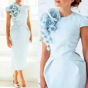 Light Blue Tea Length Sheath Mother Of The Bride Dresses Cap Sleeves Wedding Groom Dress Custom Made Formal Mother Evening Gowns